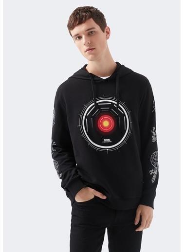 Mavi A Space Odyssey Baskılı Sweatshirt Siyah